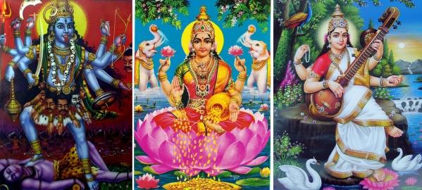 Die Göttinnen Kali, Lakshmi und Saraswati (Click für vergrößerte Ansicht)