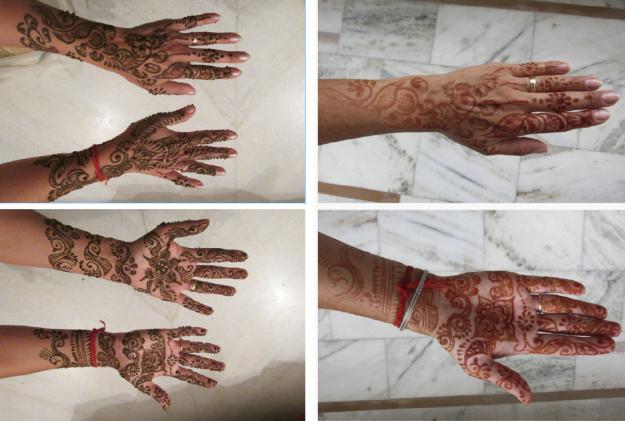 Mehndi: meine Hände mit Henna-Paste (links) und ohne (rechts)